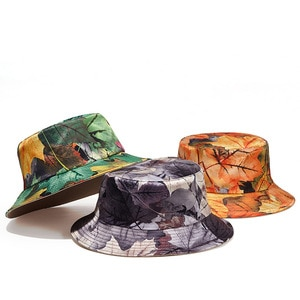 Camouflage Dead Leaves Street Fashion Fisherman Bucket Hat Hats Beanie Holiday Two Sided Double Faced Outdoor  Sunday Casual
