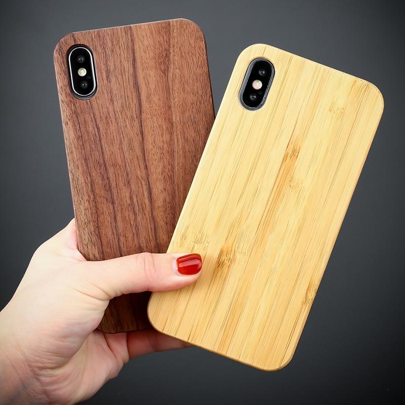 Funda TIKITAKA de madera auténtica para iphone 11 XR X XS Max 8 7 6 6S Plus 5S de bambú Natural de madera dura para iPhone 11 Pro Max