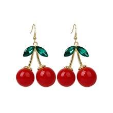 Rockabilly rouge cerise Diamante cristal goutte Dangle lustre crochet boucle doreille goujons