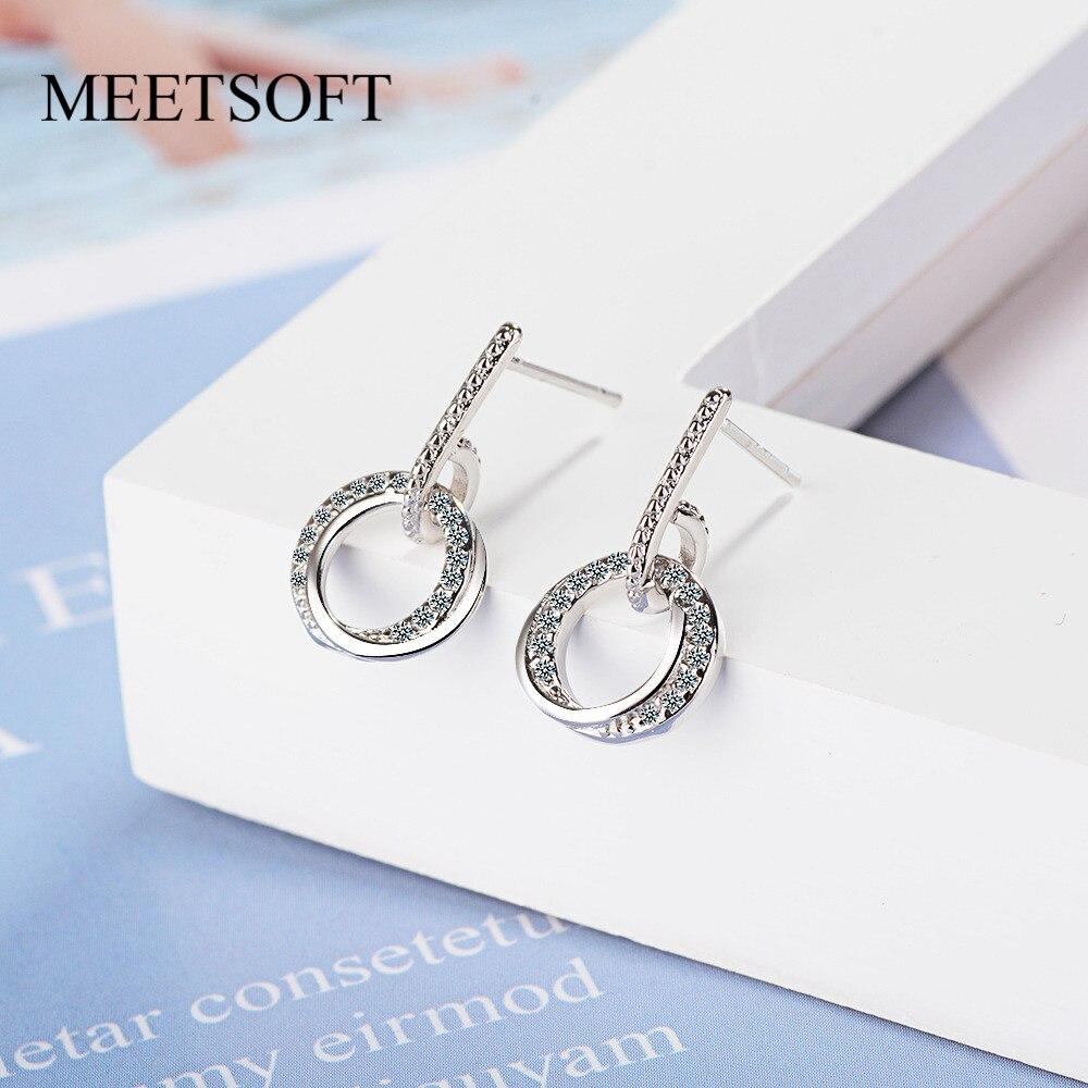 Meetsoft prata chapeado evitar alergia gota brincos para as mulheres na moda design círculo jóias presente