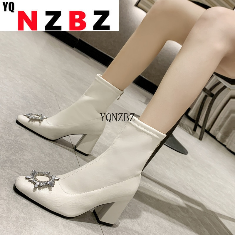 New Women Leather Boots Fashion High Heels Shoes Spring and Autumn  Woman Boots Square Toe Ankle Boo