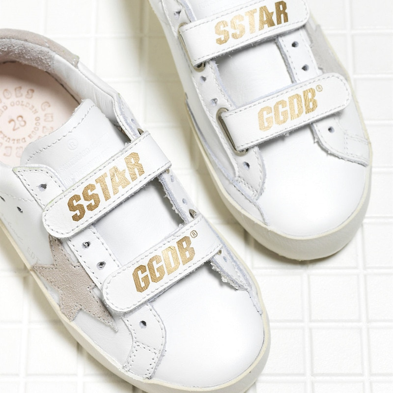 Spring New First Layer Cowhide Children Retro Distressed Small Dirty Shoes Boys and Girls Fashion Velcro Kids Sneakers CS189 enlarge