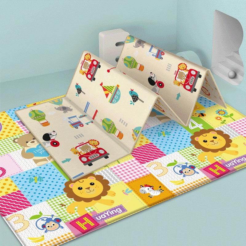 Cartoon Children Double-sided Folding Crawling Mat Baby Indoor Outdoor Play Mats Carpet Tiles Activity Baby Play Mat