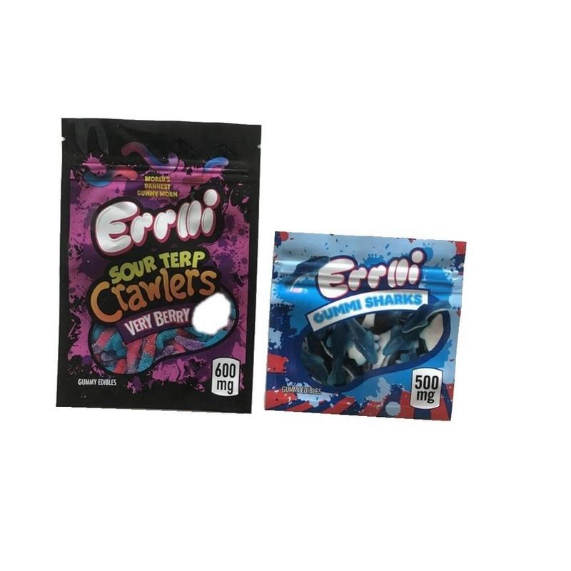 Errlli 500mg Gummi rekiny jadalne torby 600mg kwaśne Terp Crawlers zapach dowód worek do pakowania warheads skittles edibles pusty