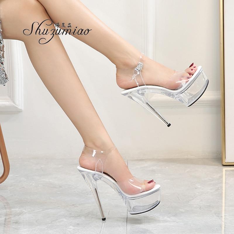 حذاء نسائي صيفي بكعب عالٍ ، حذاء نسائي بنعل شفاف ، حذاء رقص كريستالي ، فستان زفاف ، 2020