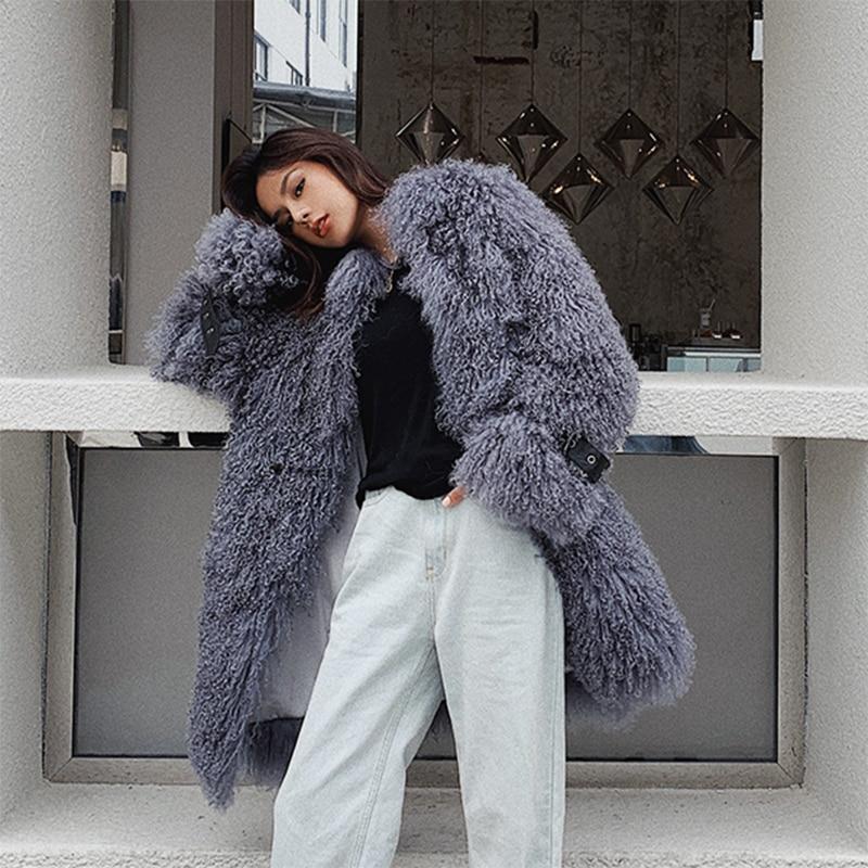 Rf1964 nueva llegada abrigo de piel de oveja Mongol de lujo de piel de oveja de manga larga abrigo de piel de oveja Real súper caliente chaqueta