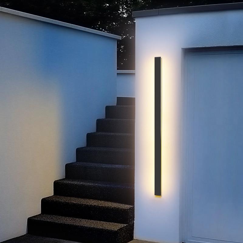 مصباح جداري LED في الهواء الطلق مقاوم للماء الجدار مصباح IP65 الألومنيوم طويلة في الهواء الطلق الجدار الخفيفة لحديقة فيلا الشرفة ضوء الإنارة