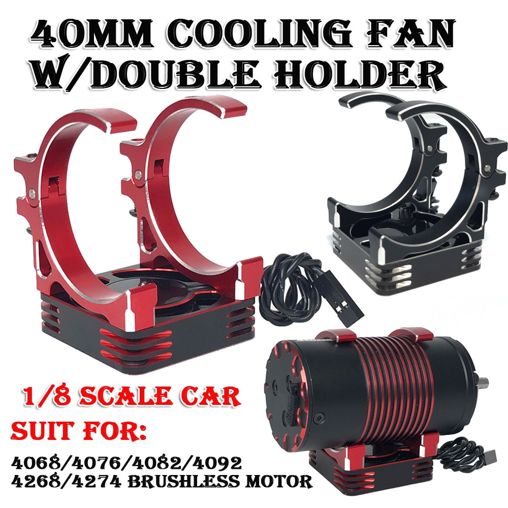 Motor Fast Cooling Fan 40x40mm Aluminum Fan w/holder for Hobbywing Rocket 1/8 RC Car 4082 4274 4268 1515 Brushless Motor