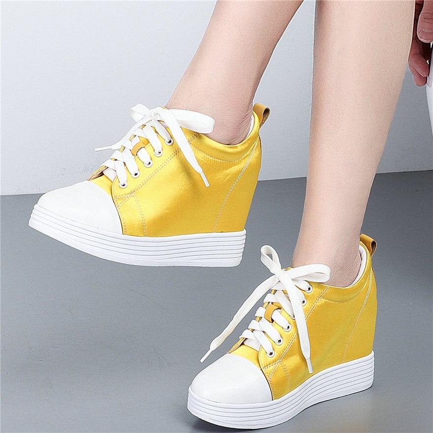 أحذية نسائية مبركن ، أحذية رياضية نسائية ذات نعل سميك من الجلد الطبيعي ، أحذية رياضية بكعب عالٍ ، أحذية أوكسفورد حريرية بمقدمة مستديرة