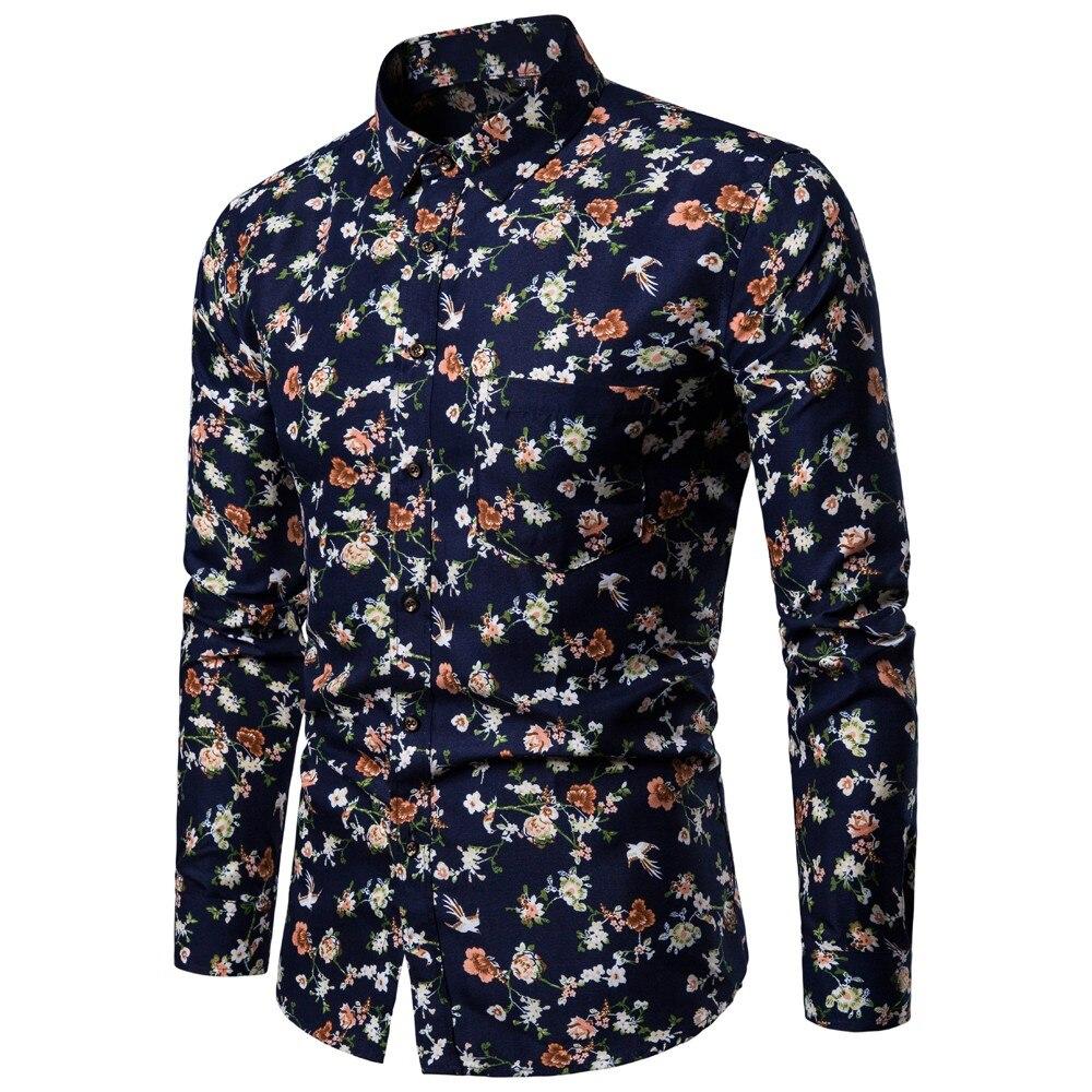2019 nueva ropa de marca camisas casuales para hombres Hip Hop Turn-Down Collar hombres moda camisa de manga larga Europa tamaño flor blusa D