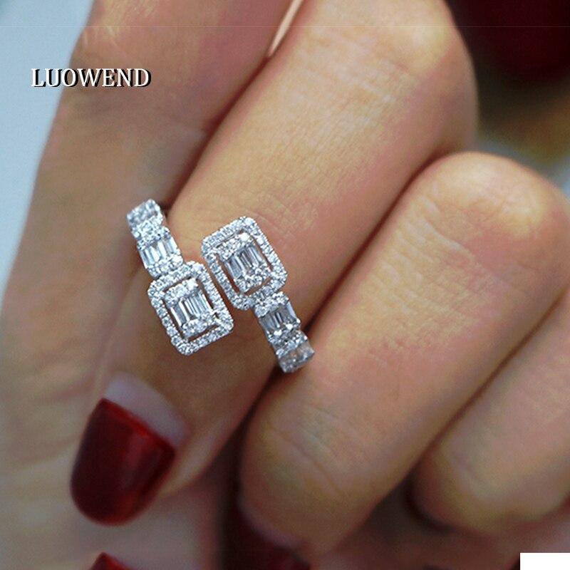 LUOWEND 18K الذهب الأبيض (AU750) خاتم الخطوبة خواتم الذهب الحقيقي خاتم الماس الطبيعي للنساء مجوهرات الزفاف الماس