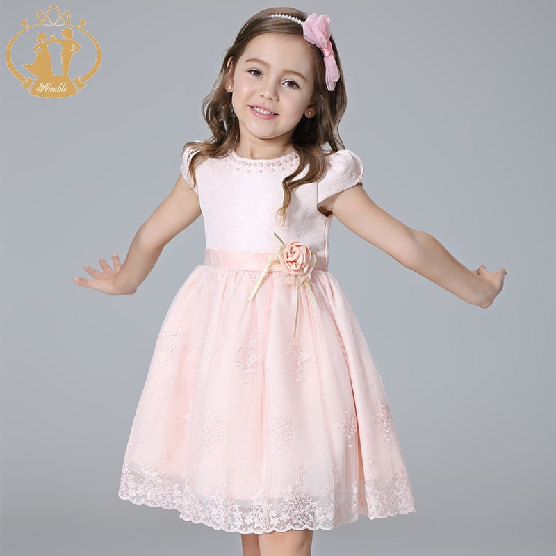Vestido de niñas Nimble, vestido de princesa bordado con lazo y perlas con cuentas, vestido elegante de encaje para niñas, Vestidos infantiles para niñas 2020
