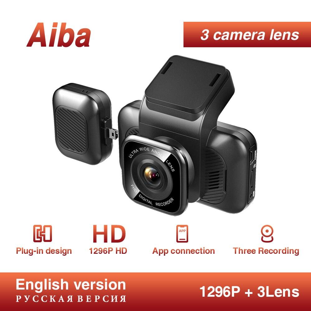 Aiba A12 APP WDR Dash Cam cámara de visión nocturna del coche grabador tres lentes Dvr incorporado WiFi Cámara 24H Monitor estacionamiento dash cam camara coche dashcam