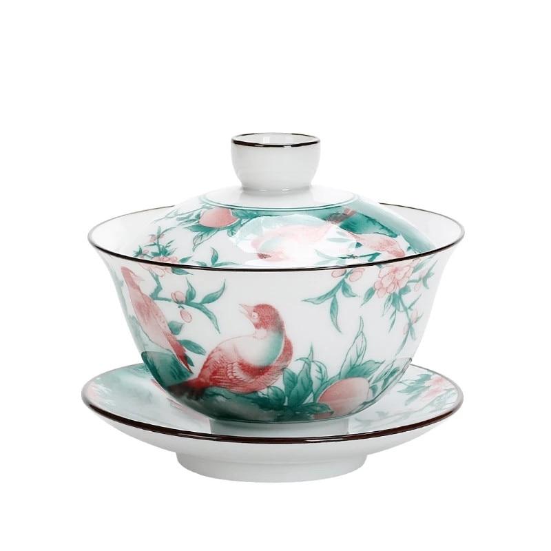 جينغدتشن Gaiwan-كوب سيراميك على شكل فرع متعدد الألوان ، مع غطاء ، طقم صحن ، وعاء شاي ، أدوات شرب مزخرفة ، هدية قهوة