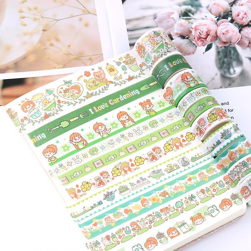 50Pcs Washi Tape Kawaii Travel Cartoon Scrapbooking Decorative Adhesive Paper Japanese Creative Stationery School Sticker