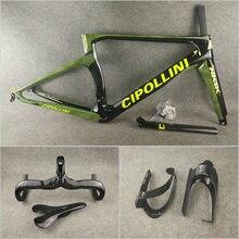 T1000 3K Glossy Green Camouflage NK1K carbon road bike frames Cipollini Handlebar Saddle Water Bottle cages