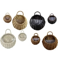 hand made wicker rattan flower basket nest flower pot planter hanging vase container willow wall hanging andmade