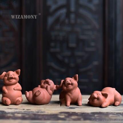 Gran venta WIZAMONY chino yixing arcilla púrpura cinabrio dibujo juego de té Pig fortuna decoración del hogar té mascota buena suerte riqueza