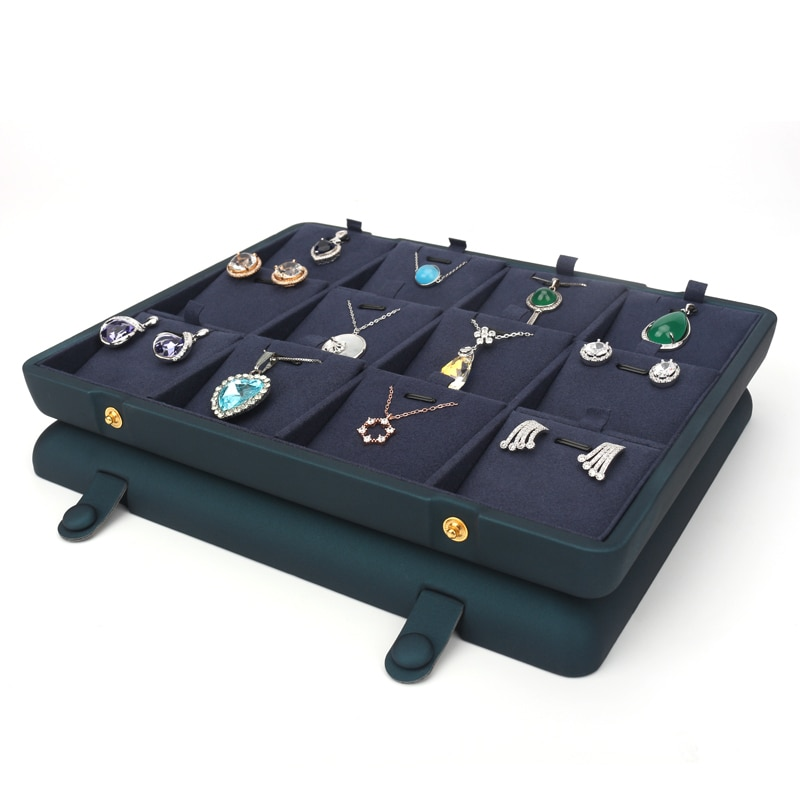 Pu Leather Blue Female Earring Jewelry Storage Display Trays Pendent Wedding Ring Showcase Jewellery Organizer Stand Removable