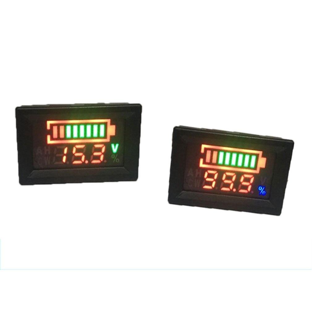 Voltímetro de pantalla Dual de 6-100V, batería de plomo ácido, porcentaje de voltaje Digital, medidor de potencia, conexión antirretroceso