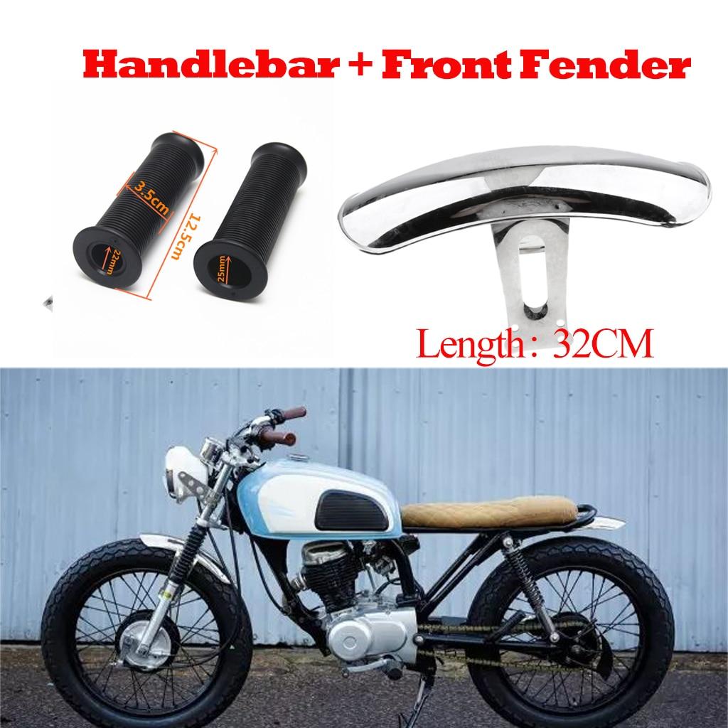 Guardabarros para motocicleta, Kit de acero + manillar para Honda CG125, cromado