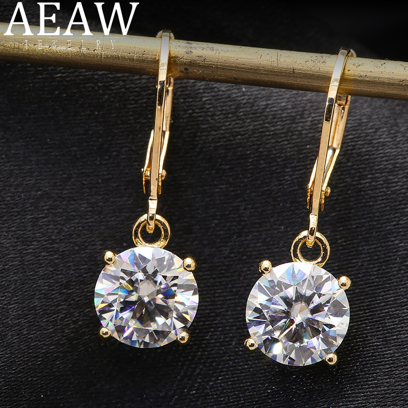 Review 100%  Au585 Yellow Gold 14k Moissanite Gemstone Drop Earrings 4.0CT 10MM Round for Women Solitaire Party Fine Jewelry