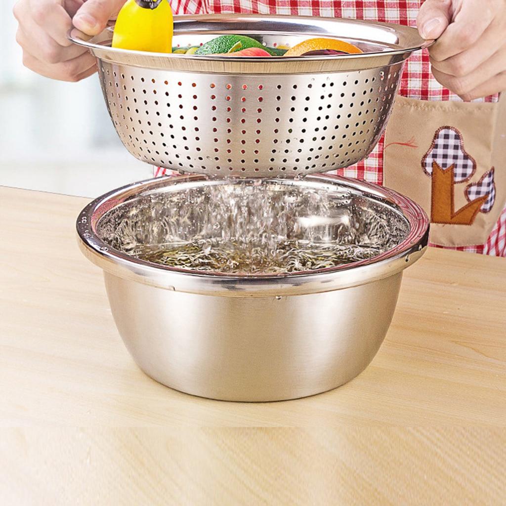 Colador lavador de arroz con diseño de acero inoxidable, para limpiar verduras, Pasta, suministro de cocina para el hogar 1 unidad
