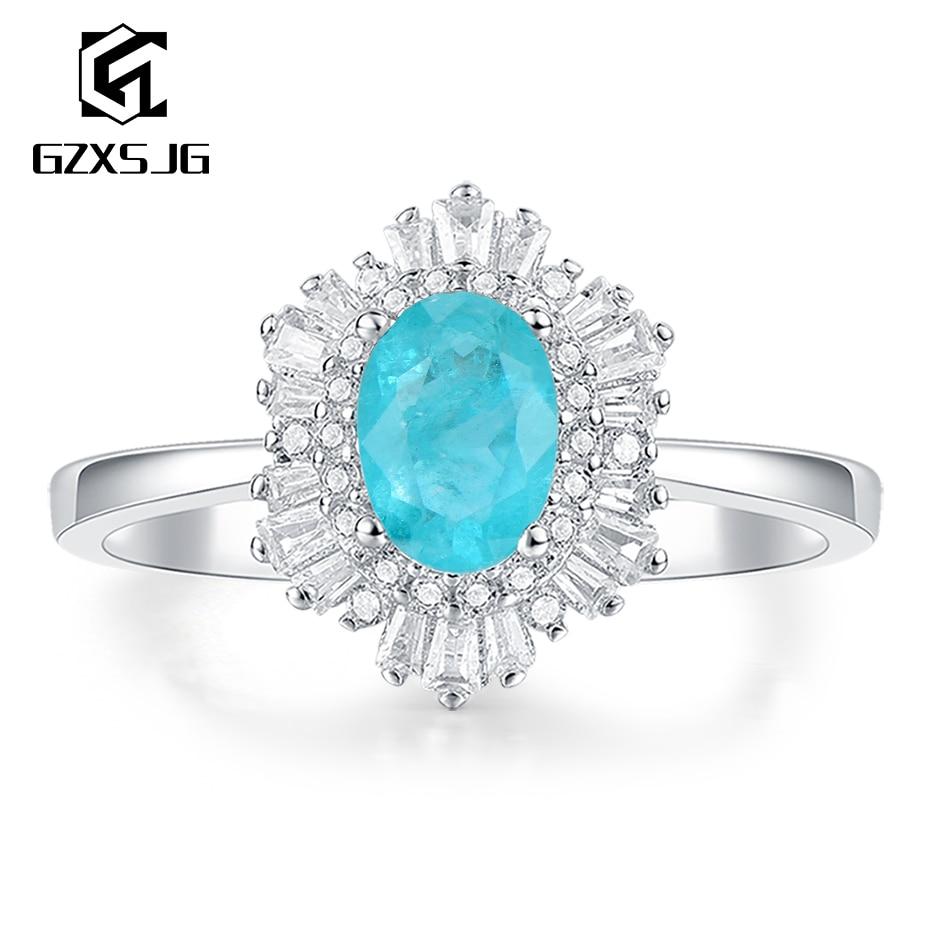 GZXSJG Paraiba Tourmaline Gemstones Ring for Women Solid 925 Sterling Silver Wedding Engagement Bride Unique Gift Fine Jewelry