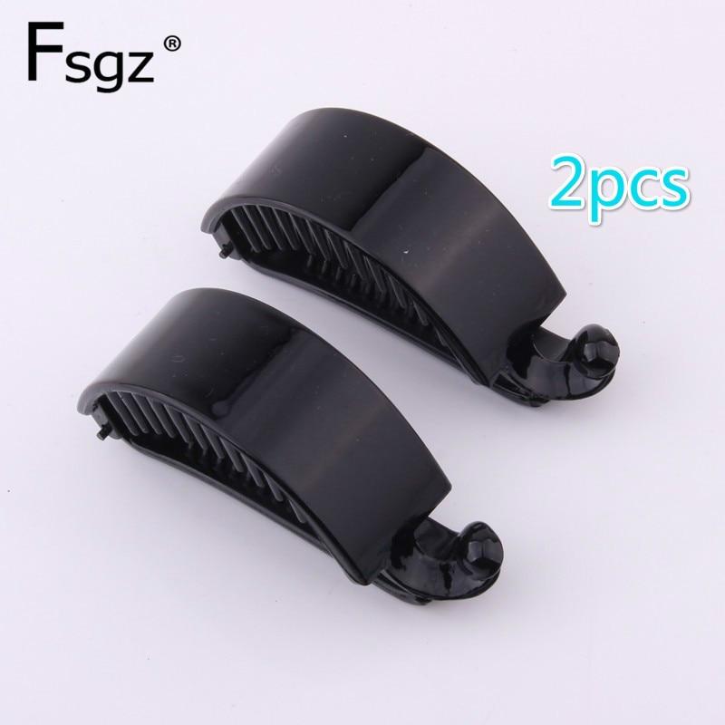 Creativa horquilla de diseño retorcido de plástico ABS negro con pinza de plátano para mujer, utensilio para el pelo de belleza con cangrejo, 2 unidades/lote de 2,2x7,2 CM