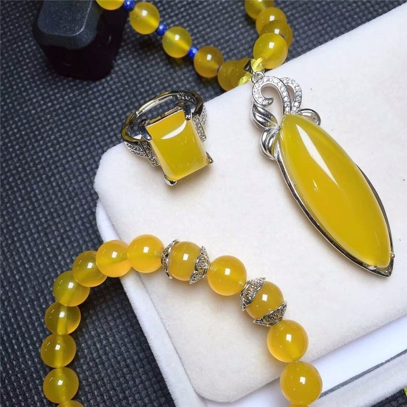 LETSFUN Fine Jewelry  925 Silver Inlaid Natural Chalcedony Yellow Pendant Necklace Ring Bracelet Set Gifts Free Shipping