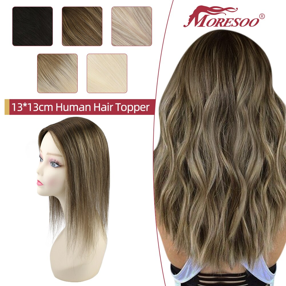 Moresoo Straight Human Hair Toppers Machine Remy Hair Piece Clip in For Women Topper for Beauty Hand Made Mono Base Hair Natural