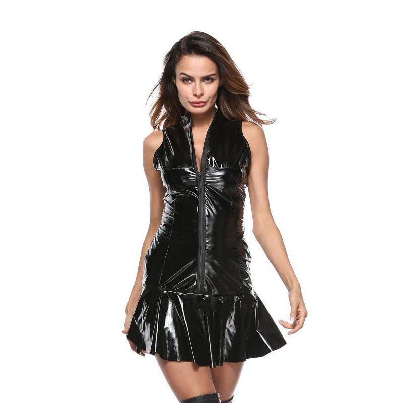 Women Sexy Lingerie Shiny Wetlook PU Leather Dress Erotic Costumes Latex Dress Sexy Costumes Clubwear