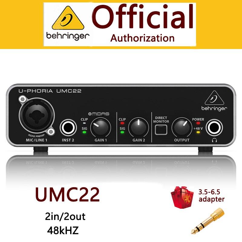 BEHRINGER umc22 audio interface microphone Headphone Amplifier sound card Focusrite