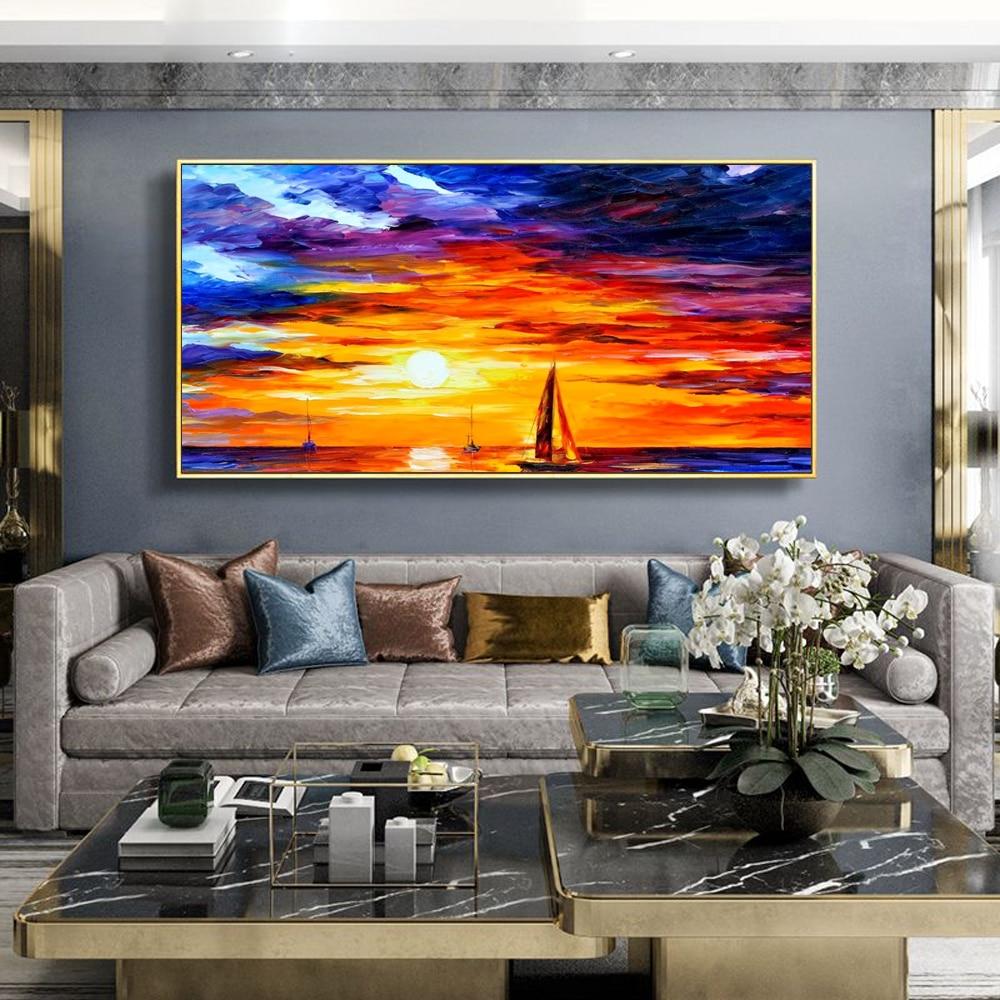Nordic paisagem pintura a óleo mar pôr do sol aquarela arte pintura da lona sala de estar corredor escritório decoração casa mural