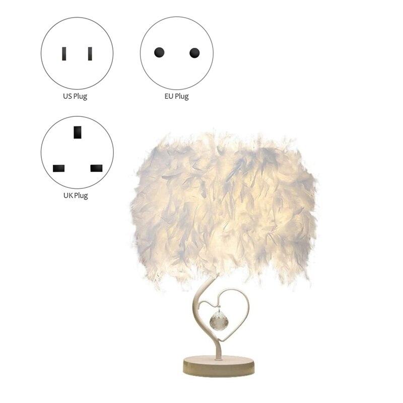 مصباح طاولة من الريش ، مصباح سرير بجانب السرير ، لغرفة النوم ، غرفة المعيشة ، الديكور المنزلي ، عاكس الضوء الأبيض
