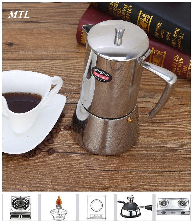 Máquinas de café expresso gêiser 4/6 xícaras de Café de Aço Inoxidável 304 máquina de fabricante de Moka Pot fogão гейзерная кофеварка 모카포트