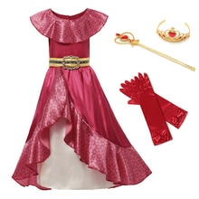 Girl Princess Red Elena Kids Dress up Cosplay Costume Sleeveless Deluxe Red Kids Party Halloween Fan