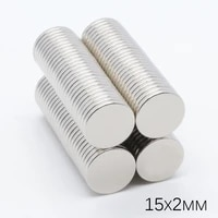 50pcs 15x2mm super strong powerful long round cylinder magnets rare earth neodymium 15mm x 2mm n35 ndfeb permanent imanes