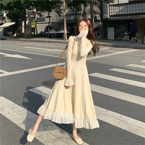 Women's Bottoming Knitted Dress French Style Slimming Long Dress Single Breasted Ruffle Stitching Flared Sleeve Dress for Winter