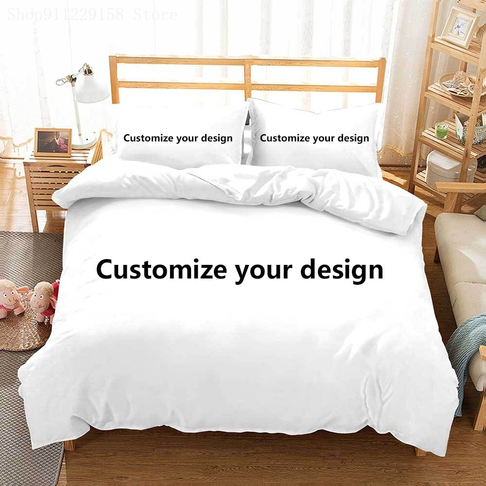 Custom Image Bedding Set with Pillowcase 2/3 Piece Luxury 3D Print Logo Twin Full Queen King Size Creative Duvet Cover