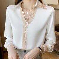 autumn women long sleeve white blouse shirt tops women v neck chiffon blouse women blusas mujer de moda 2021 blouses femme e685