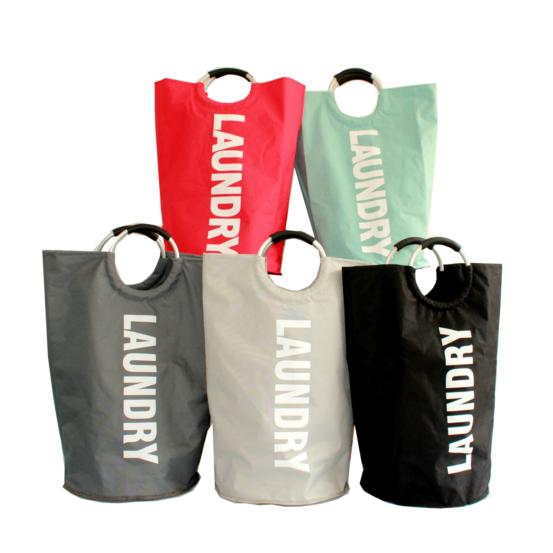 حقيبة تخزين كبيرة السعة ، قماش أكسفورد ، طبقة مزدوجة ، مقبض ألومنيوم ، سلة غسيل قابلة للطي