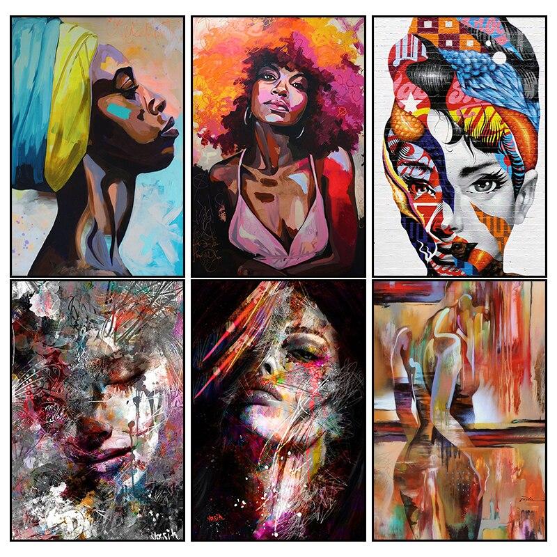 Arte abstracto moderno de la pared pintura de la lona impresa carteles de mujer africana e imprime cuadros de pared para el hogar sala de estar arte corporal Sexy