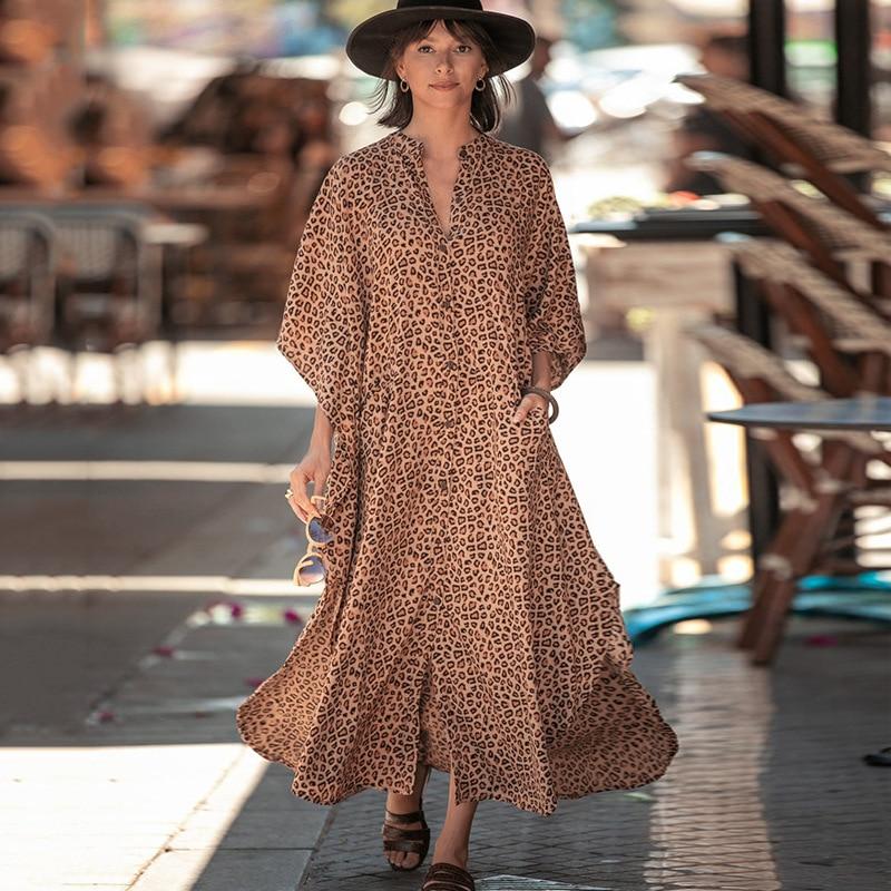 2021 Crochet Leopard Knitted Beach Cover up dress Tunic Long Pareos Bikinis Cover ups Swim Cover up Robe Plage Beachwear