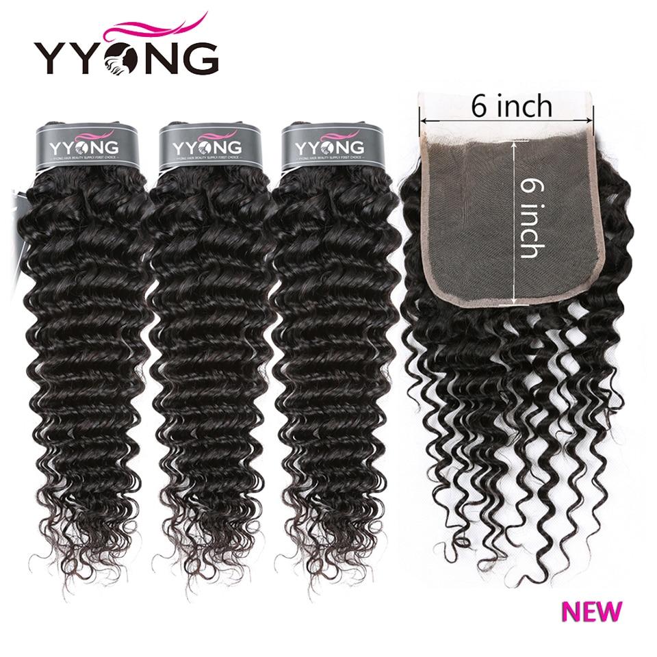 YYong-وصلات شعر برازيلية مموجة عميقة ، شعر طبيعي ، مع إغلاق من الدانتيل وشعر الطفل ، 14 إلى 30 بوصة ، 6X6