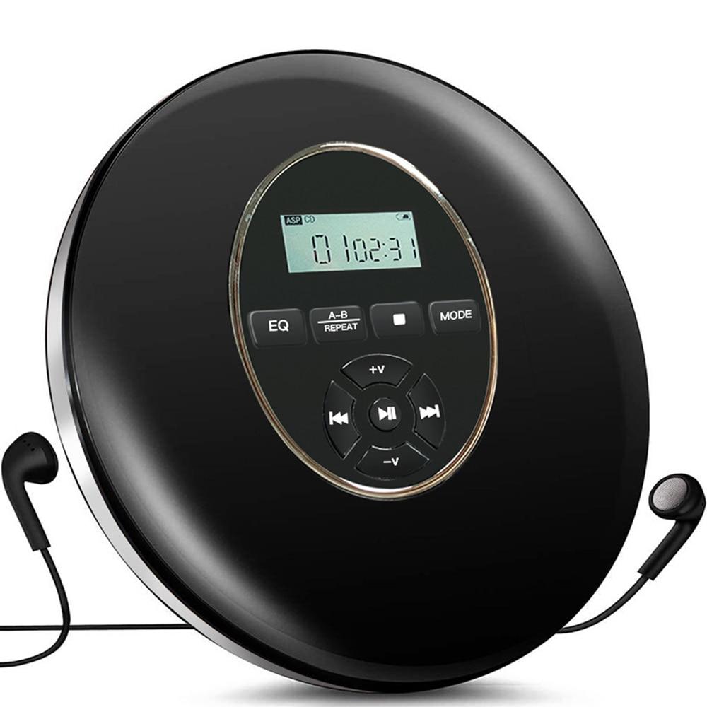 YR-Q50 مستديرة نمط المحمولة مشغل أقراص مضغوطة سماعة HiFi الموسيقى Reproductor CD ووكمان ديسمان لاعب مع كابل مساعد دعم TF بطاقة