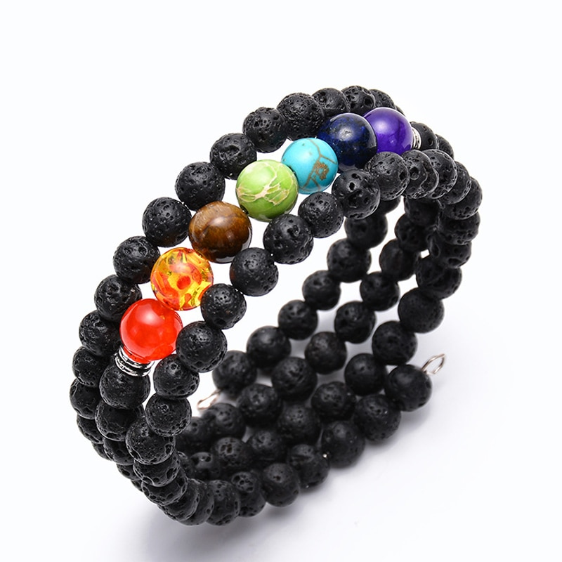 Salud ajustable Yoga pulsera hecha a mano Multi piedra Natural siete Chakras Yoga mujeres pulsera brazalete