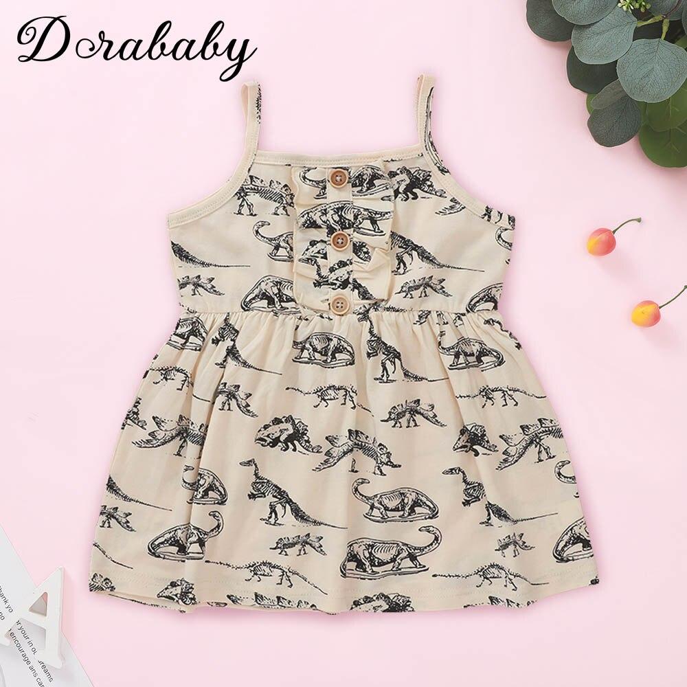 Dorababy, 2020, nuevo estilo, 1-5 años, ropa para niñas pequeñas, bonito vestido con estampado del Paraíso de dinosaurios, vestido de madera con botones que se desliza
