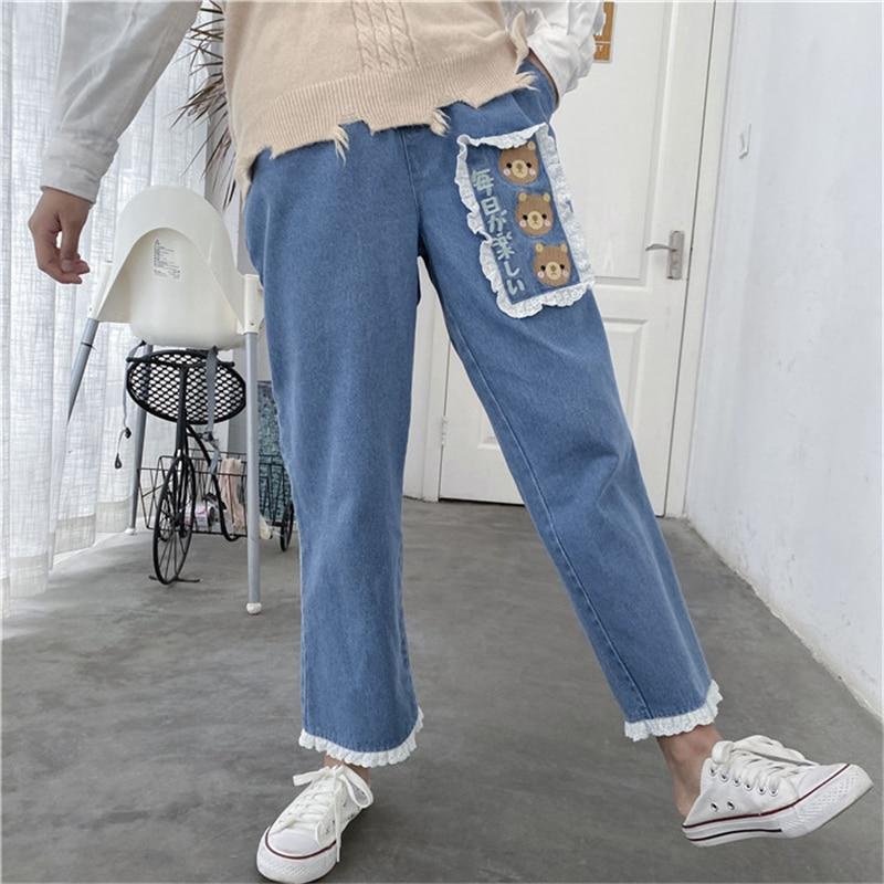 Japanese Lace Denim Pants Women Casual Trousers Cute Bear Loose Jeans Pants Korean Harajuku Kawaii High Waist Wide Leg Pants