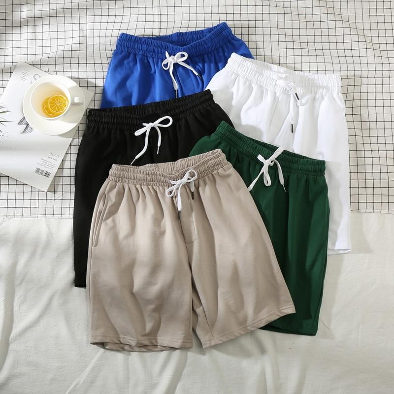 Однотонные летние модные повседневные мужские спортивные шорты, уличная одежда, модные мужские брюки с кулиской, дышащие мужские шорты